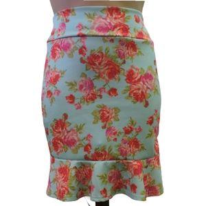 Agnes & Dora Large floral pink midi skirt Large